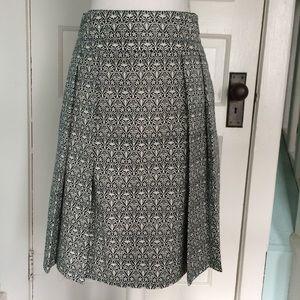 Tory Burch Navy/White pleated A Line Mila Skirt 4
